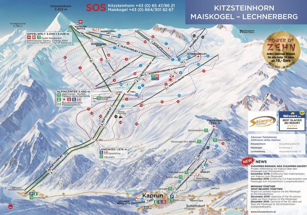 Pistsenplan Kitzsteinhorn © Gletscherbahnen Kaprun
