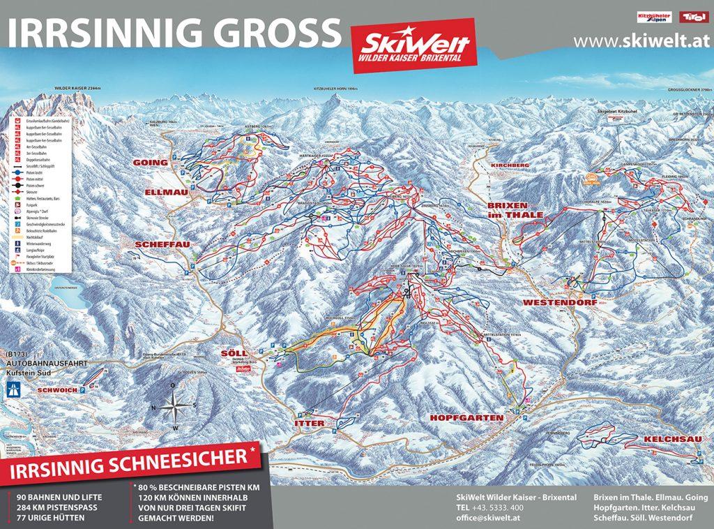 Pistenplan © SkiWelt Wilder Kaiser - Brixental