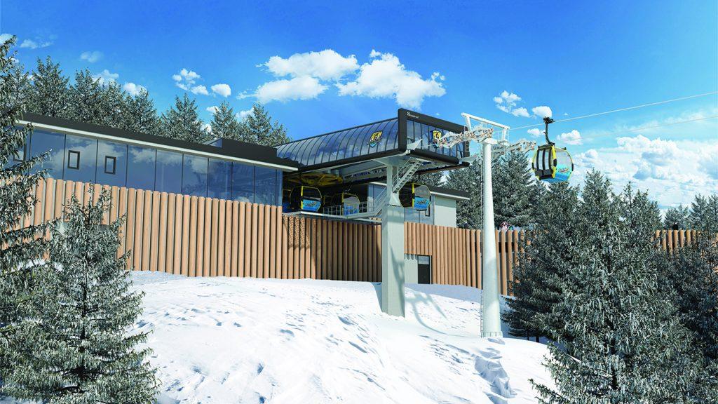 Holz und Glas bilden die Außenverkleidung der Talstation der neuen Möslbahn © Doppelmayr
