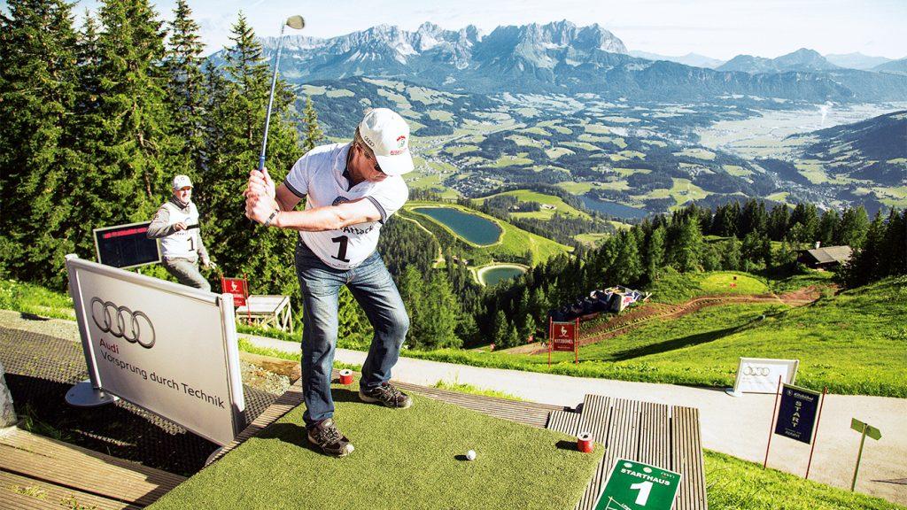 Abschlag 1 beim Starthaus am Hahnenkamm © Golf Festival Kitzbühel