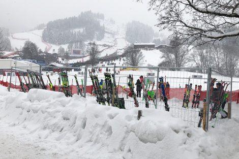 Die Skier der Slalomstars warten zwischen den Durchgängen auf ihren Einsatz © Skiing Penguin