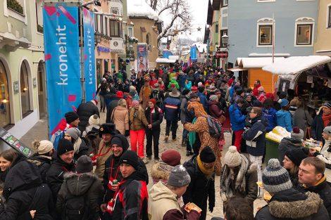 Kitzbühel am 26. Jänner 2019, etwa zwei Stunden nach der Entscheidung im Slalom © Skiing Penguin