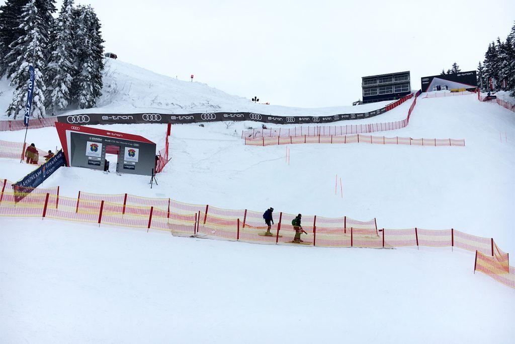 Links der Europacup-Start, rechts oben der Weltcup-Start © Skiing Penguin