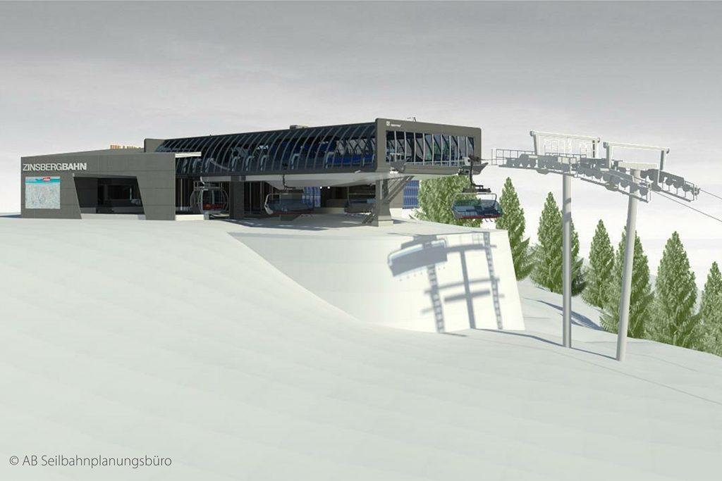 Die Bergstation der neuen Zinsbergbahn mit 8er-Sesseln und 10er-Gondeln © SkiWelt/AB Seilbahnplanungsbüro