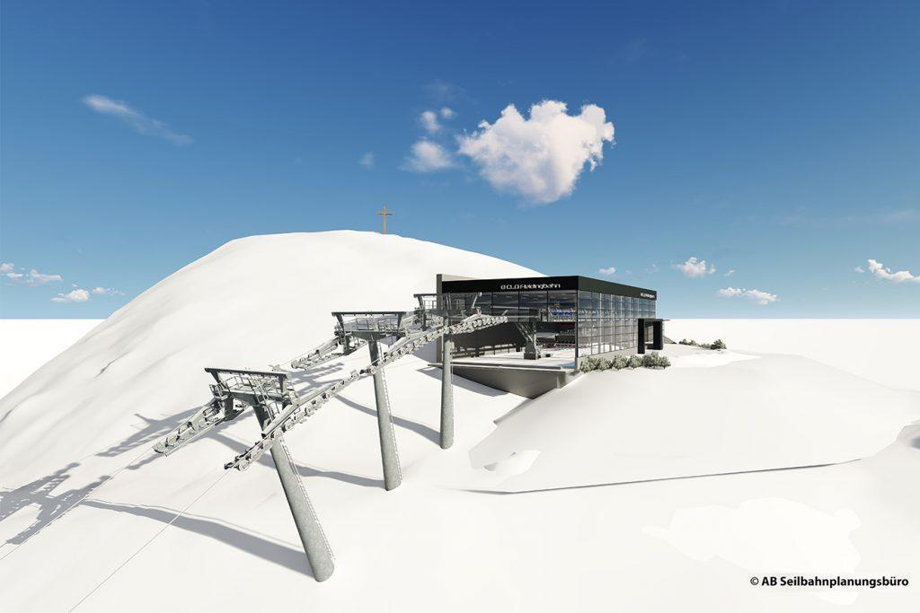 Die Bergstation der neuen Fleidingbahn ist als transparenter Glasbau geplant © SkiWelt/AB Seilbahnplanungsbüro