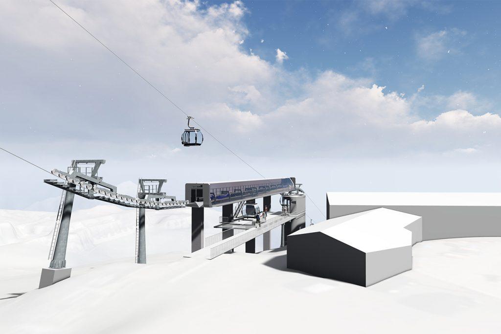 Die Mittelstation der neuen Rotkogelbahn bietet nur bergwärts Ein- und Aussteigemöglichkeiten © Ötztal Tourismus