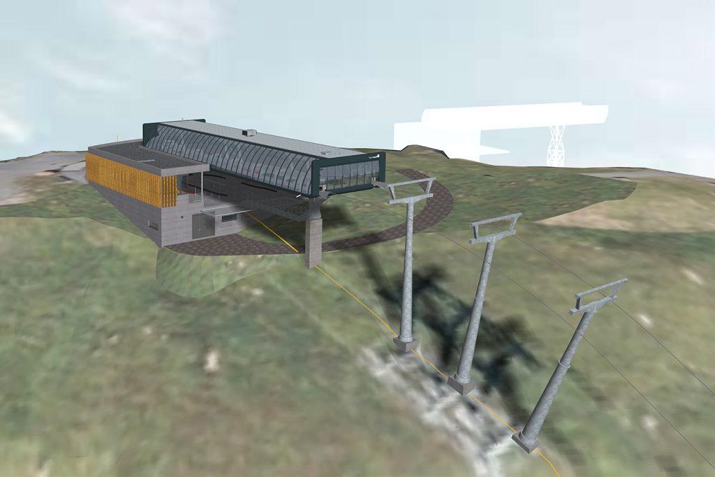 Die Bergstation der neuen Zwölferkogelbahn als Visualiserung © Saalbach