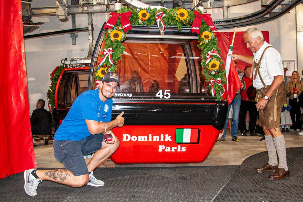 Dominik Paris' Gondel fährt seit 2013, nun erfolgte auch die feierliche Widmung © Skiing Penguin