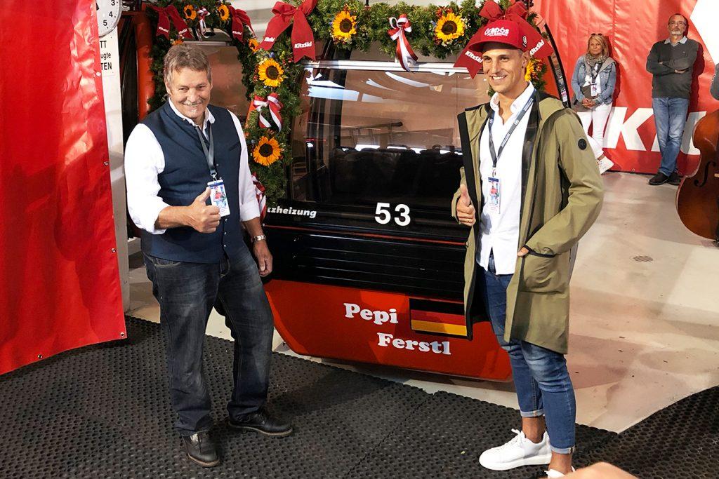 Sepp und Pepi Ferstl. Die Gondel des Vaters trägt die Nummer 9 © Skiing Penguin