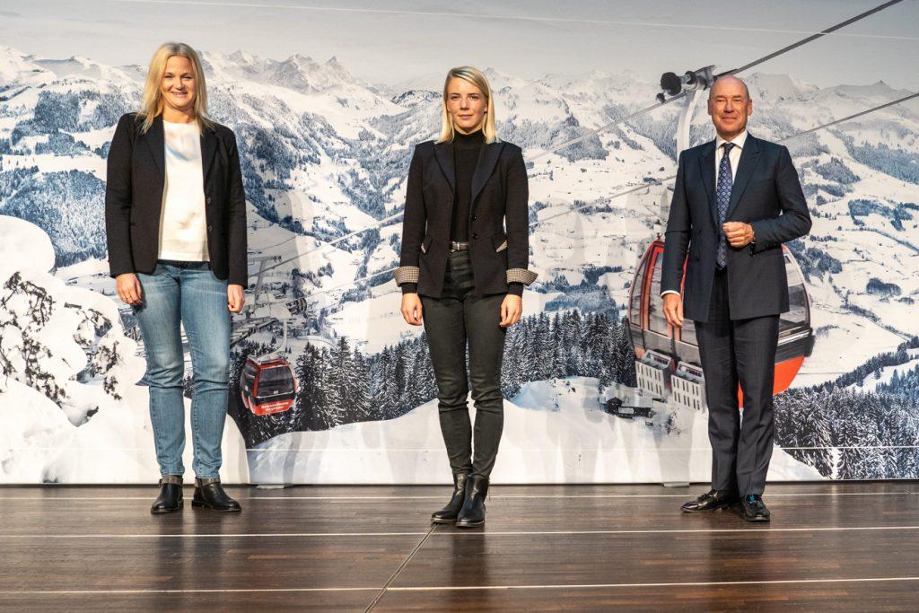 Kitzbühels Tourismus-Trio: Katrin Schlechter, Viktoria Veider-Walser und Christian Harisch © Skiing Penguin